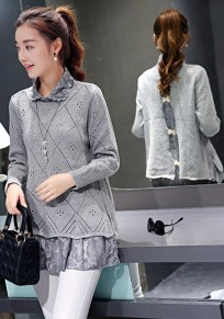 Grey Lace False 2-in-1 Turndown Collar Twinset Slits Back Bow Fall Pullover