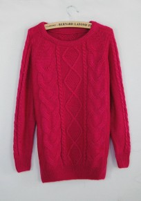 Rose-Carmine Twist Pattern Round Neck Casual Pullover Sweater
