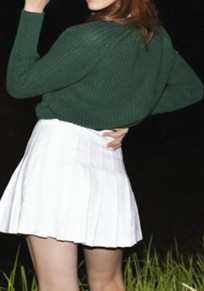 Green Plain Round Neck Long Sleeve Normal Pullover Sweater