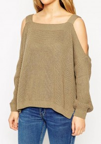 Coffee Plain Cut Out Square Neck Fashion Knit Pullover Sweater