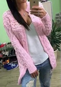 Pink Plain Pearl Long Sleeve Casual Cardigan Sweater
