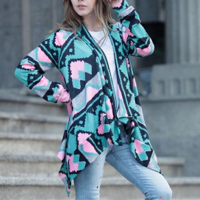 Light Blue Geometric Print Irregular Turndown Collar Fashion Casual Cardigan Sweater