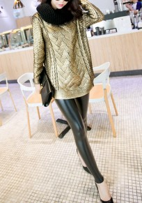 Golden Plain Bronzing Round Neck Long Sleeve Pullover Casual Sweater