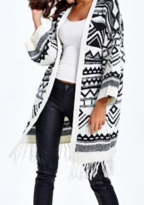 Black Geometric Tassel Long Sleeve Fashion Cotton Cardigan Sweater