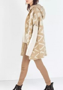 Khaki Geometric Print Hooded Elbow Sleeve Fashion Cardigan Sweater
