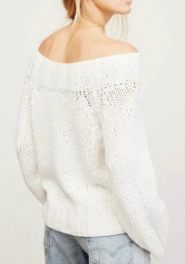 White Plain Boat Neck Long Sleeve Casual Pullover Sweater