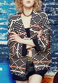 Black Geometric Print Striped Collarless Fashion Cardigan Sweater