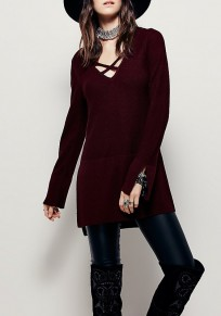 Wine Red Plain Hollow-out Cut Out V-neck Pullover Sweater