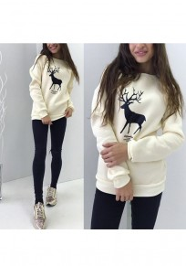Beige Deer Print Round Neck Long Sleeve Pullover Sweater