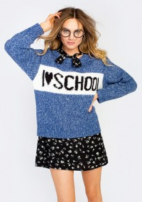 Blue-White Patchwork Letter School Holiday Print Round Neck Cute Pullover Sweater