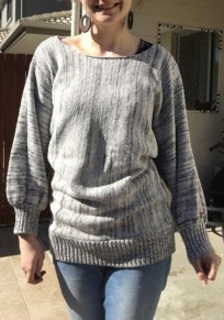 Grey Plain Round Neck Dolman Sleeve Casual Pullover Sweater
