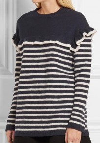 Blue Striped Ruffle Round Neck Long Sleeve Pullover Sweater