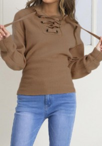 Coffee Plain Drawstring Plunging Neckline Fashion Cotton Pullover Sweater