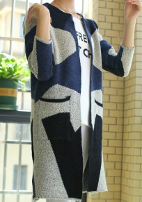 Grey Color Block Pockets Round Neck Cardigan Sweater
