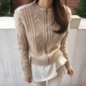 Khaki Plain Round Neck Long Sleeve Fashion Cardigan Sweater