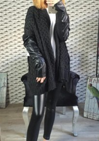 Black Patchwor Long Sleeve Fashion Loose Cardigan Sweater
