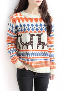 Beige Geometric Deer Print Round Neck Cute Pullover Sweater