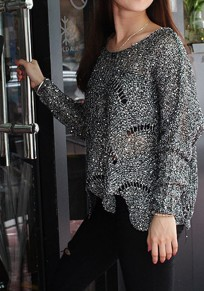 Silver Plain Hollow-out Round Neck Long Sleeve Pullover Sweater