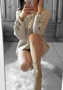 White Plain Cut Out V-neck Fashion Pullover Sweater