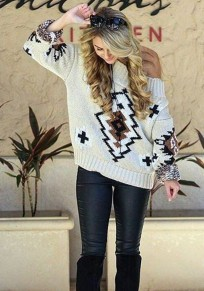 Beige Geometric Pattern Boat Neck Fashion Pullover Sweater