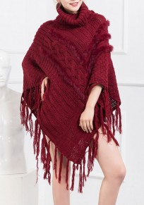 Wine Red Plain Irregular Tassel High Neck Pullover Sweater
