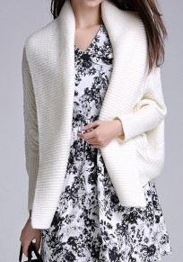 White Plain Irregular Collarless Fashion Acrylic Cardigan Sweater