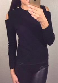 Black Plain Cut Out Studded Round Neck Fashion Pullover Sweater