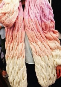 Pink Color Block Long Sleeve Fashion Cardigan Sweater