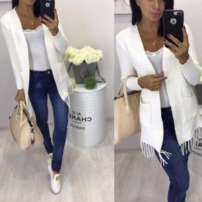 Beige Pockets Tassel Long Sleeve Sweet Cardigan Sweater