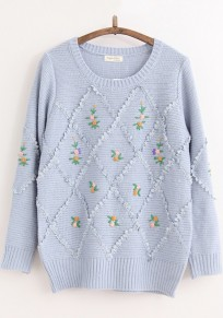 Blue Grey Print Embroidery Pullover