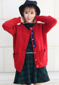 Red Plain Pockets Curling Cardigan Sweater