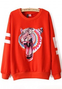 Red Tiger Embroidery Long Sleeve Hoodie