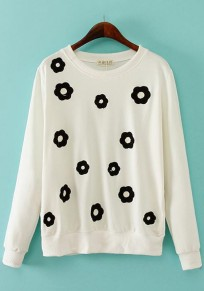 White Flowers Embroidery Sweatshirt