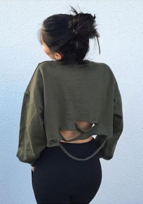 Army Green Plain Hollow-out Crop Pullover Dolman Sleeve Casual Sweatshirt