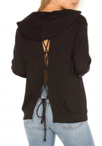 Black Plain Hollow-out Backless V-neck Hooded Sweatshirt