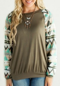 Army Green Patchwork Aztec Print Round Neck Long Sleeve Pullover Sweatshirt