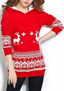 Red And White Geometric Christmas Deer Print Plus Size Thick Hooded Sweatshirt