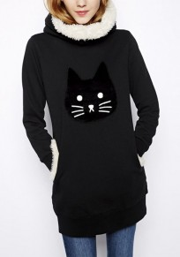 Black Cat Print Pockets Cowl Neck Hooded Cute Pullover Sweatshirt