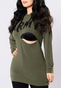 Army Green Letter Army Print Hollow-out Drawstring Casual Hooded Pullover Sweatshirt