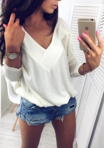 White V-neck One Shoulder Long Sleeve Fashion Pullover Sweatshirt