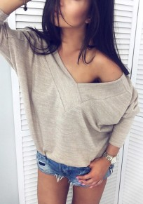Apricot V-neck One Shoulder Long Sleeve Fashion Pullover Sweatshirt