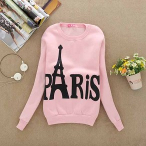 Pink Floral Print Round Neck Long Sleeve Casual Pullover Sweatshirt