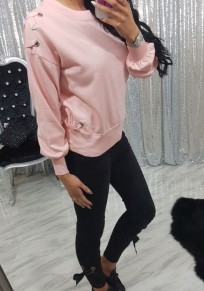 Pink Drawstring Round Neck Long Sleeve Casual Pullover Sweatshirt