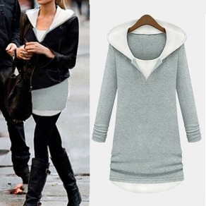 Light Grey Patchwork Round Neck Fashion Cardigan Hooded Sweatshirt