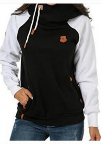 Black Patchwork Badge Drawstring Pockets Long Sleeve Hooded Sweatshirt