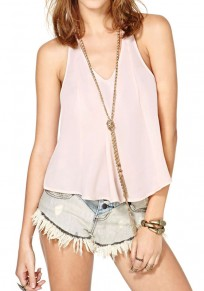 Light Pink Plain Embroidery Sleeveless Loose Chiffon Vest