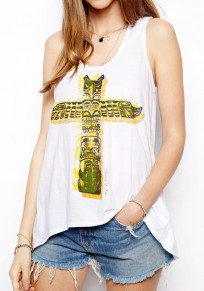 White Cross Print Round Neck Sleeveless Dacron Vest