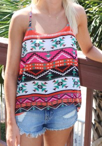 Multicolor Floral Condole Belt Loose Vest
