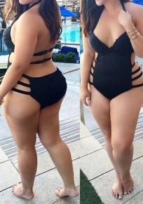 Black Plain V-neck Backless One Piece Plus Size Swimwear For Women