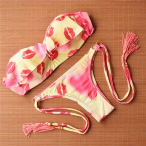 Red Floral Print Lips Ruffle Tassel 2-in-1 Bandeau Swimwear